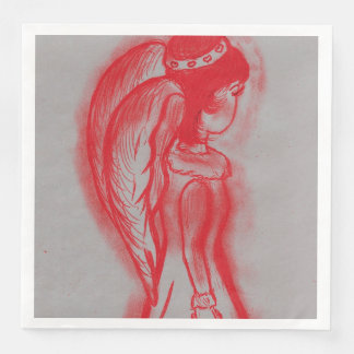 Side Angel in Red Disposable Napkins