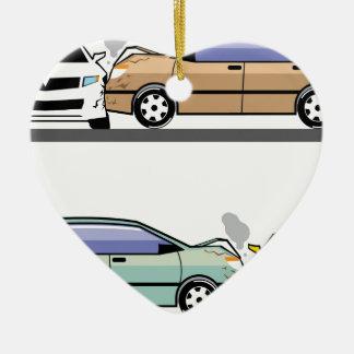 Side car crash ceramic heart ornament