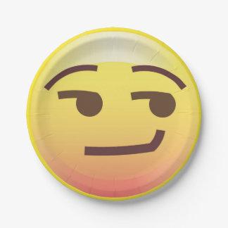 Side Glance Smug Emoji Paper Party Plate 7 Inch Paper Plate