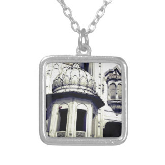 side of a castle silver plated necklace