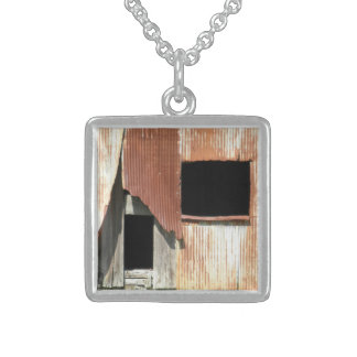 Side of the Barn Old Building Window Rustic Photo Sterling Silver Necklace