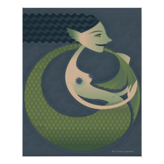Side profile of a mermaid poster