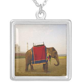 Side profile of an elephant, Taj Mahal, India Silver Plated Necklace