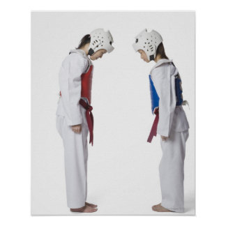 Side profile of two taekwondo players bowing poster