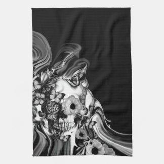 Side step, psychedelic smoke skull kitchen towel