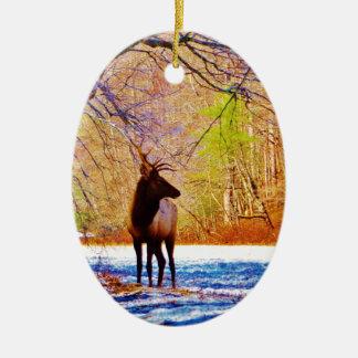 Side view Bull elk in Snow Ceramic Ornament