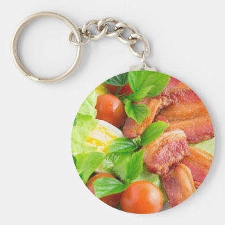 Side view of a fragment of a plate close-up basic round button keychain