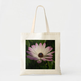 Side View of A Pink and White Osteospermum Tote Bag