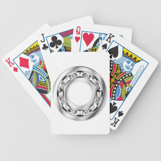 Side view of ball bearing bicycle playing cards