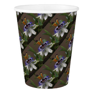 Side View of Beautiful Passiflora Flower Paper Cup