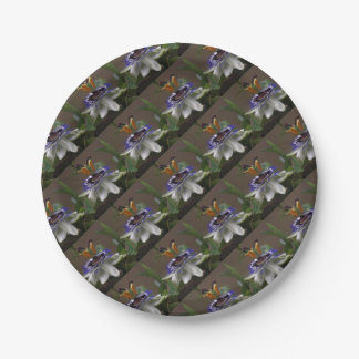 Side View of Beautiful Passiflora Flower Paper Plate