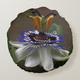 Side View of Beautiful Passiflora Flower Round Pillow