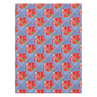 Side View of Scarlet Red Hibiscus In Bright Light Tablecloth
