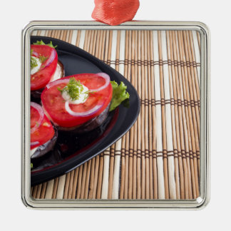 Side view of the cut slices of red tomatoes Silver-Colored square ornament