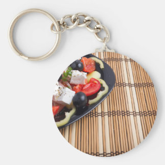 Side view of the Greek vegetarian salad of tomato Basic Round Button Keychain