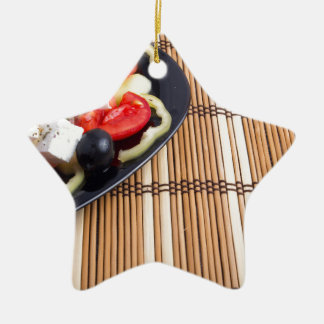 Side view of the Greek vegetarian salad of tomato Ceramic Star Ornament
