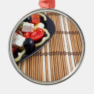 Side view of the Greek vegetarian salad of tomato Silver-Colored Round Ornament