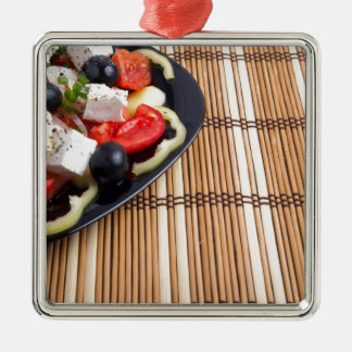 Side view of the Greek vegetarian salad of tomato Silver-Colored Square Ornament