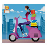 Side view of woman with gifts on scooter poster