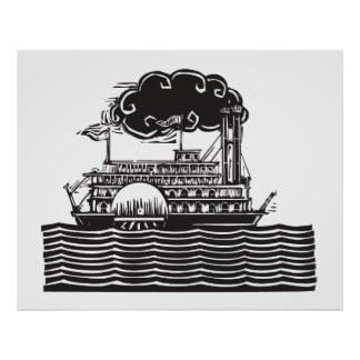 Side wheel Riverboat in waves Poster
