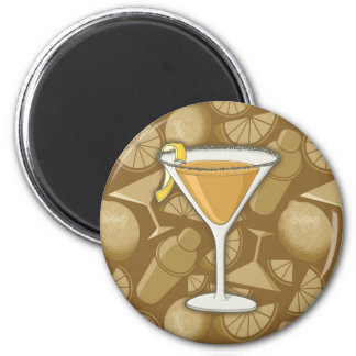 Sidecar cocktail 2 inch round magnet
