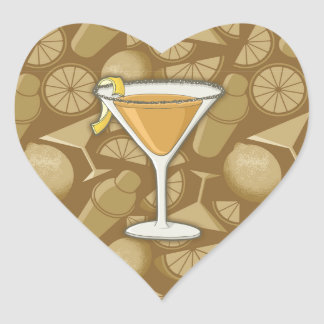 Sidecar cocktail heart sticker