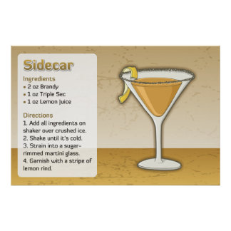 Sidecar Recipe Poster