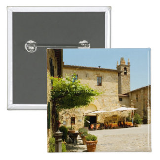 Sidewalk cafe beside a church, Romanesque 2 Inch Square Button