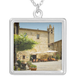 Sidewalk cafe beside a church, Romanesque Silver Plated Necklace