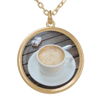 Sidewalk Cafe in Buenos Aires Round Pendant Necklace