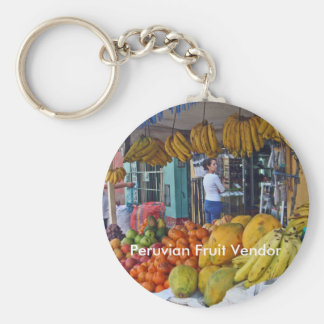 Sidewalk Fruit Vendor in Peru Keychain