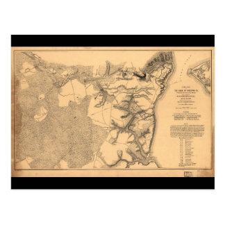 Siege of Yorktown Virginia Civil War Map (1862) Postcard