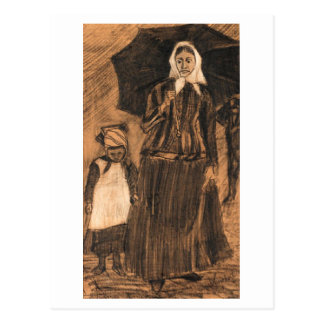 Sien under Umbrella with Girl, Van Gogh Fine Art Postcard