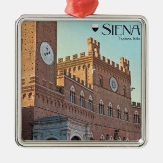Siena - Palazzo Pubblico Morning Silver-Colored Square Ornament
