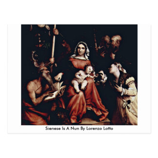 Sienese Is A Nun By Lorenzo Lotto Postcard