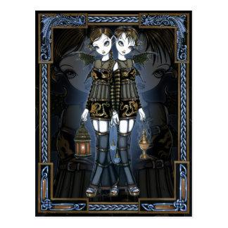 Sienna & Celeste Gothic Dragon Twins Fae Postcard