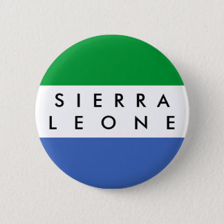 Sierra Leone country flag nation symbol name text 2 Inch Round Button