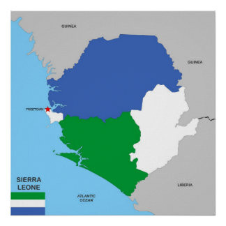 sierra leone country political map flag posters