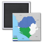 sierra leone country political map flag square magnet
