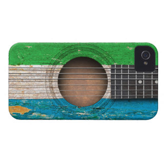 Sierra Leone Flag on Old Acoustic Guitar iPhone 4 Case