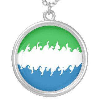 Sierra Leone Gnarly Flag Round Pendant Necklace