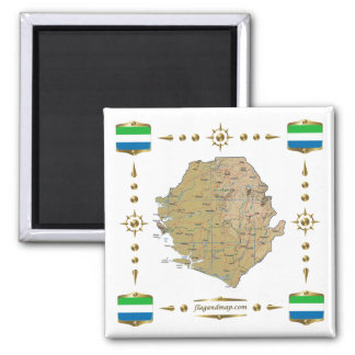 Sierra Leone Map + Flags Magnet