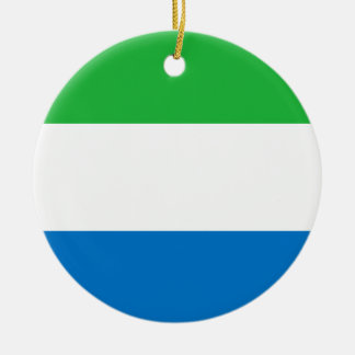 Sierra Leone National World Flag Round Ceramic Ornament