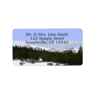 Sierra Nevada Mountains and Snow at Yosemite Label
