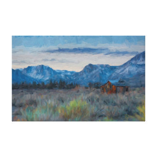 Sierra Nevada Old Cabin Painting Canvas Print