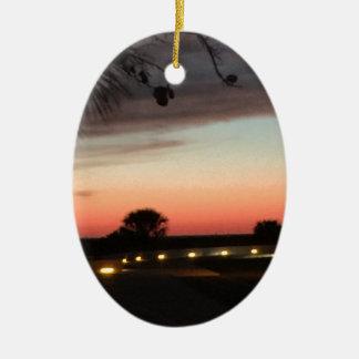 Siesta Key Beach Sunset Ceramic Oval Ornament