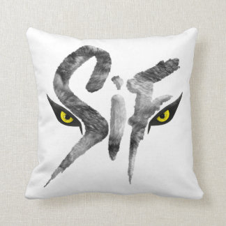 Sif, the Great Grey Wolf Typography Throw Pillow