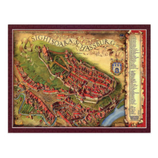 Sighisoara, Pictorial representation map Postcard