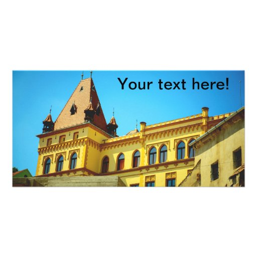 Sighisoara yellow building personalized photo card