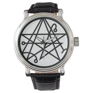 Sigil of the Gateway Black Vintage Leather Watch